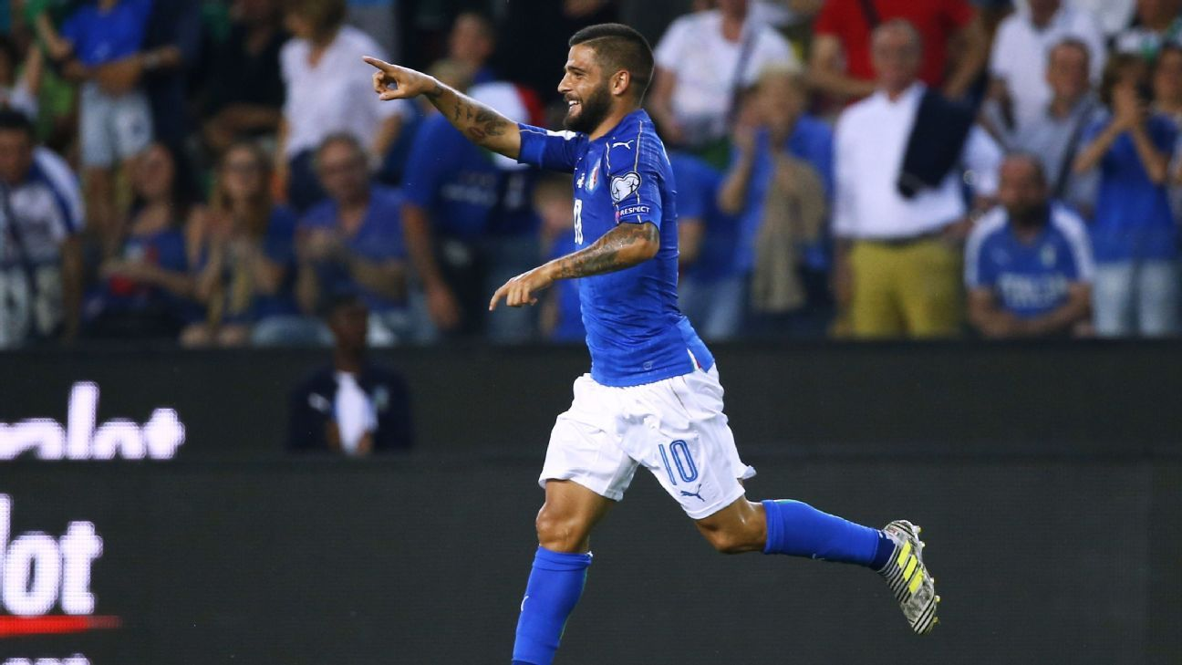 Lorenzo Insigne reacts after scoring Italy's first goal in a runaway World Cup qualifying win against Liechtenstein.