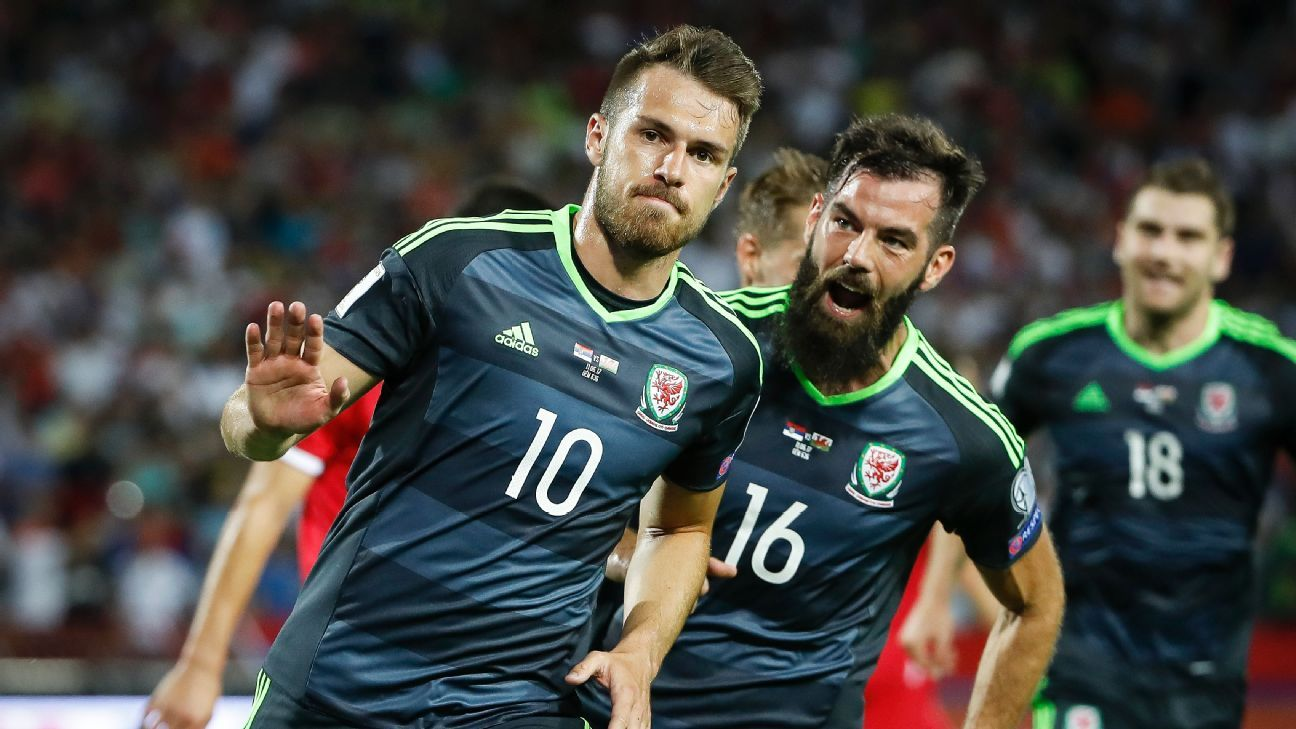 Aaron Ramsey celebrates after putting Wales ahead against Serbia in a World Cup qualifier on Sunday.