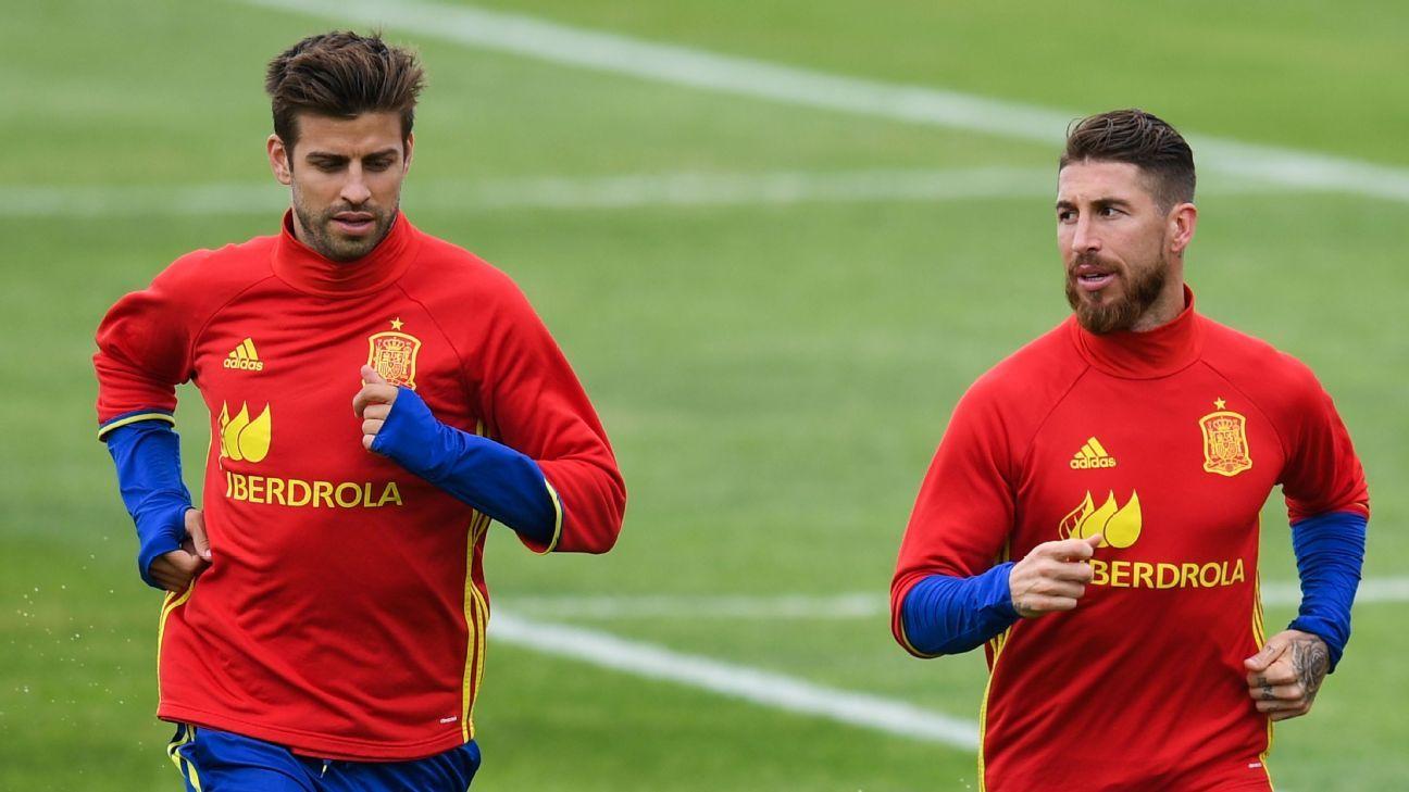 Gerard Pique and Sergio Ramos during Spain training.
