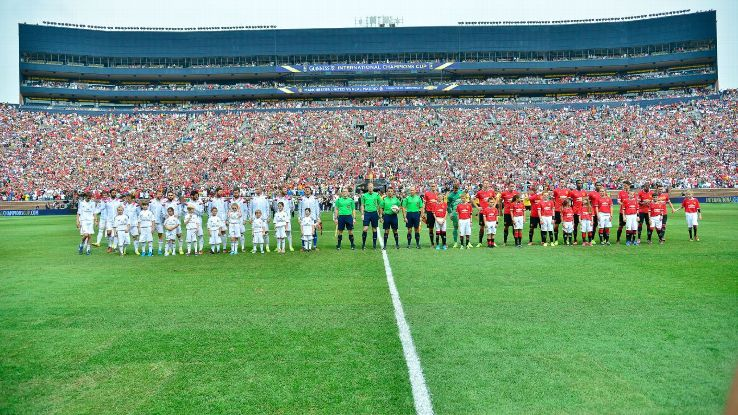 Real Madrid and Man United played in front of 109,000 people in 2014.
