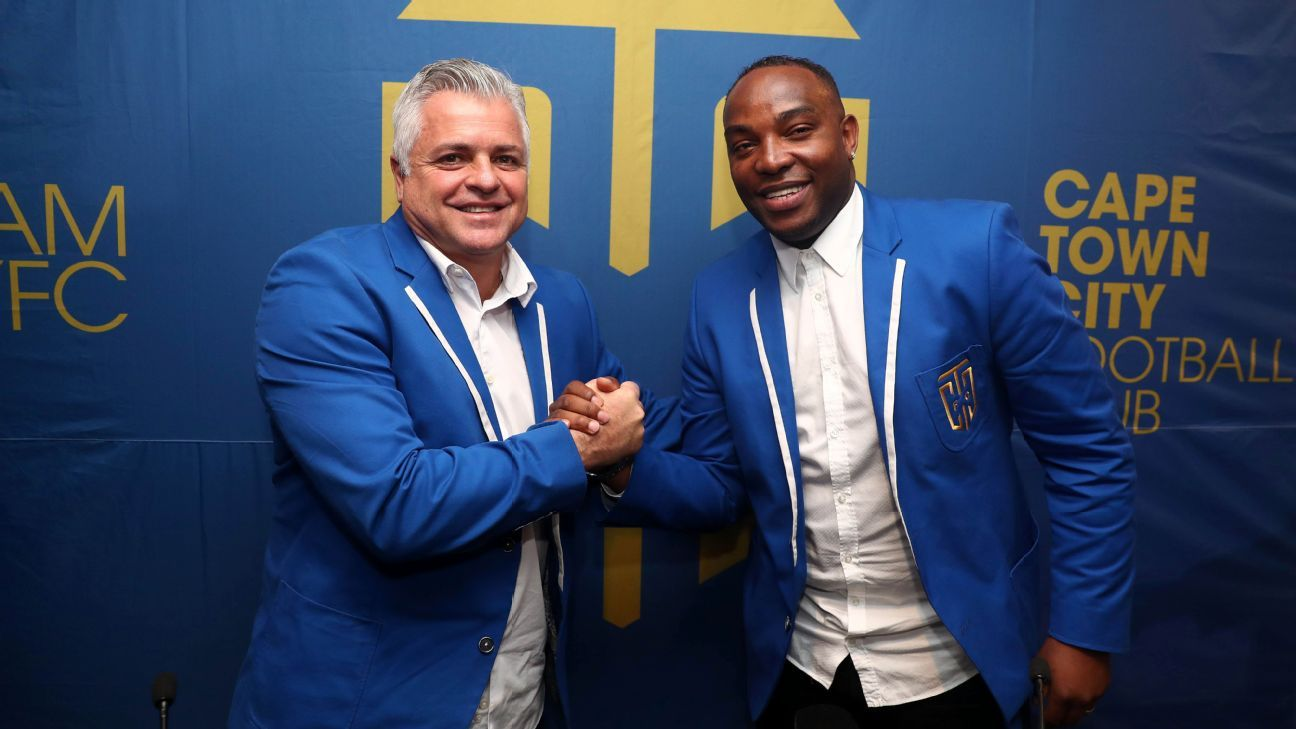Cape Town City chairman John Comitis unveils Benni McCarthy as the South African club's new coach