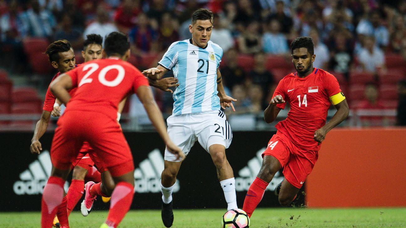 Argentina forward Paulo Dybala v Singapore