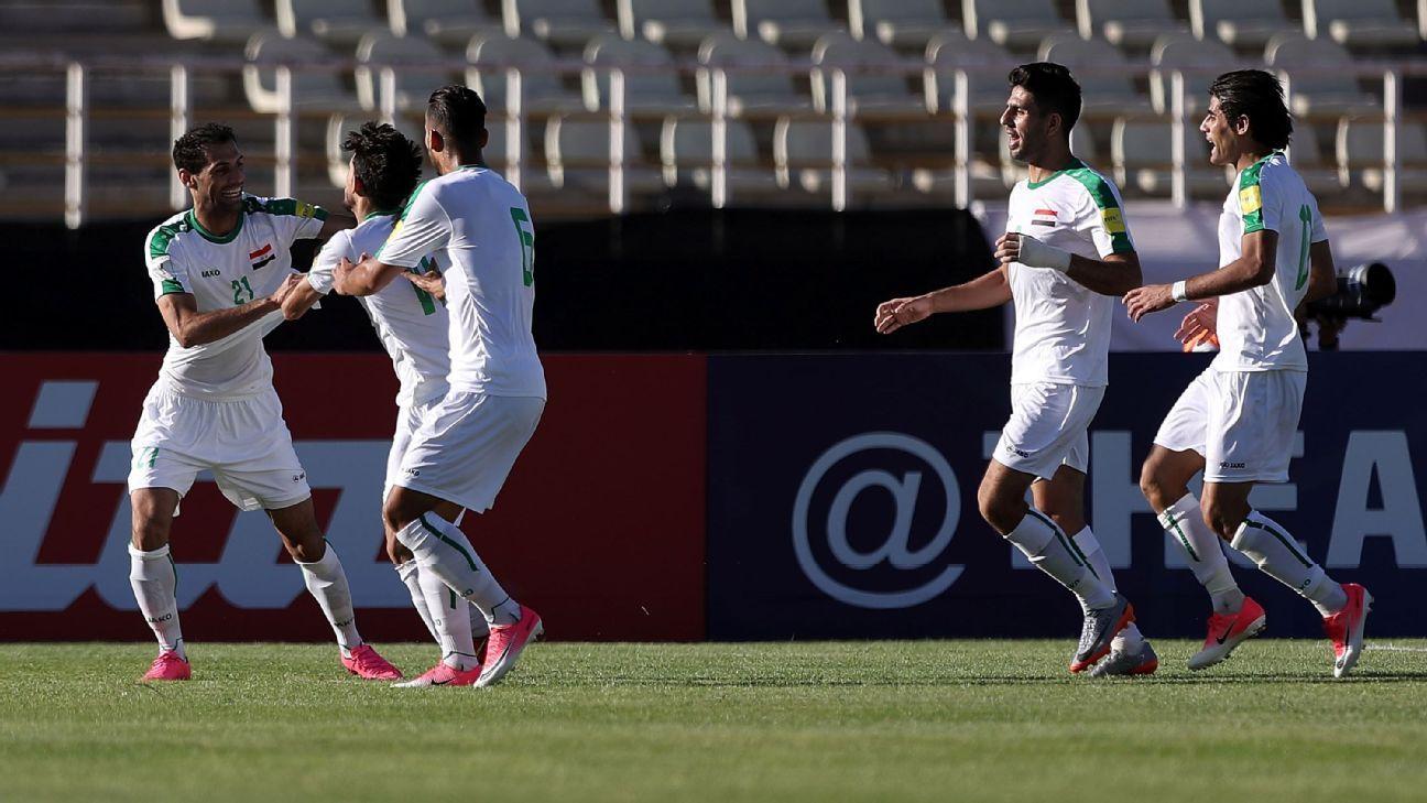 Iraq celebrate goal vs. Japan by Mahdi Kamil Shiltagh