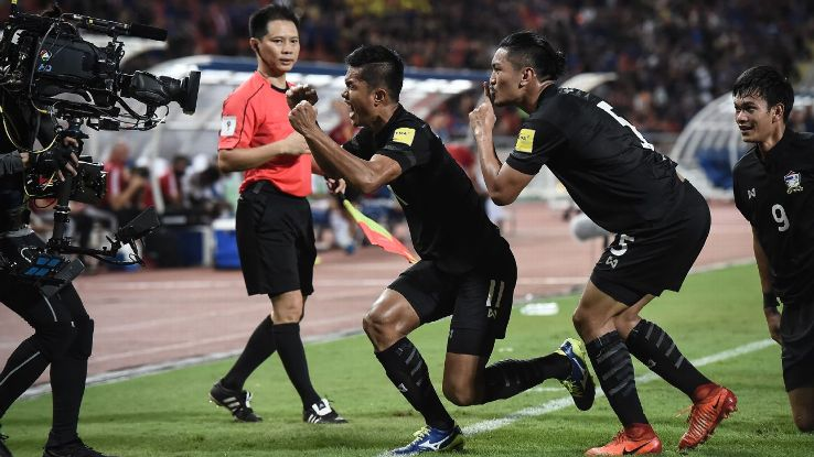 Mongkol Thosakrai of Thailand celebrates v UAE