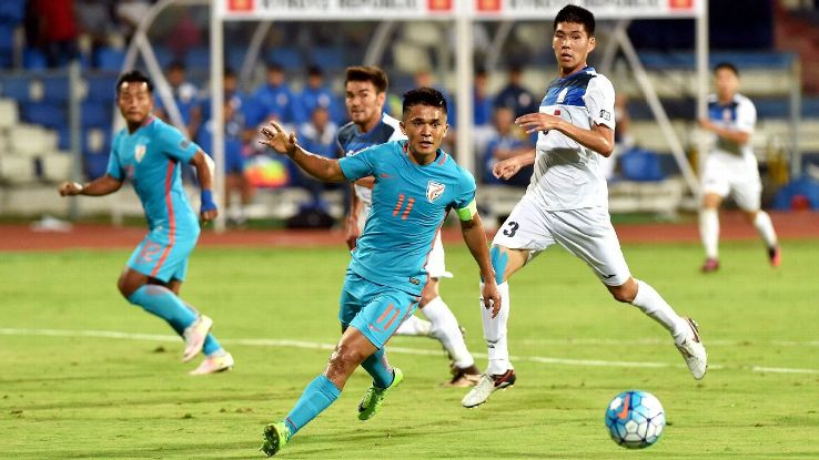 Sunil Chhetri has now scored in all three of India's matches against Kyrgyzstan.