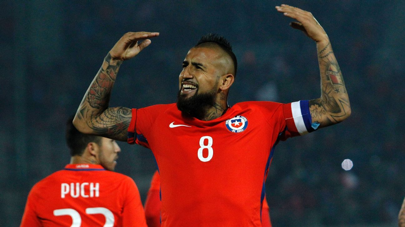 Arturo Vidal in action for Chile during an international friendly game against Burkina Faso.