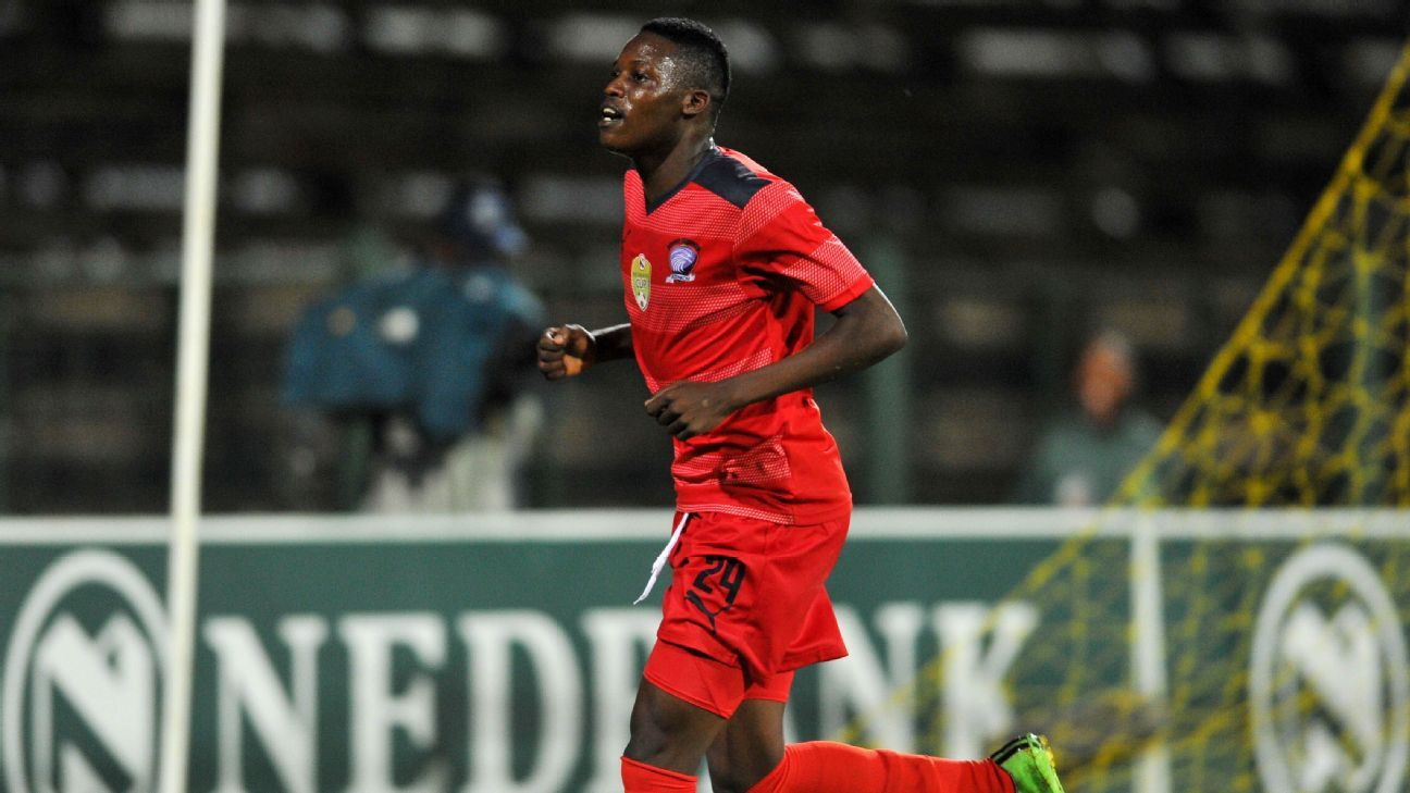 Denver Mukamba of Jomo Cosmos celebrates his goal during the 2016 Netbank Cup last 32 game between Jomo Cosmos and AmaZulu at the Olen Park Stadium in Pochestroom, South Africa on March 08, 2016