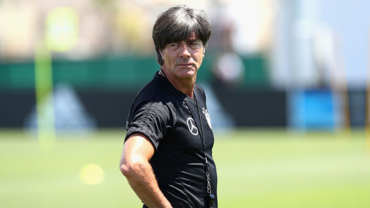 Germany coach Joachim Low looks on during a training session at Park Arena training ground on June 16, 2017 in Sochi, Russia.