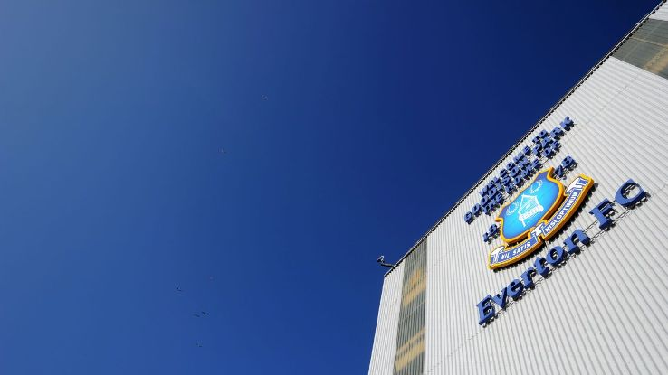 General picture outside Goodison Park the home stadium of Everton with the badge on the Goodison Road Stand.
