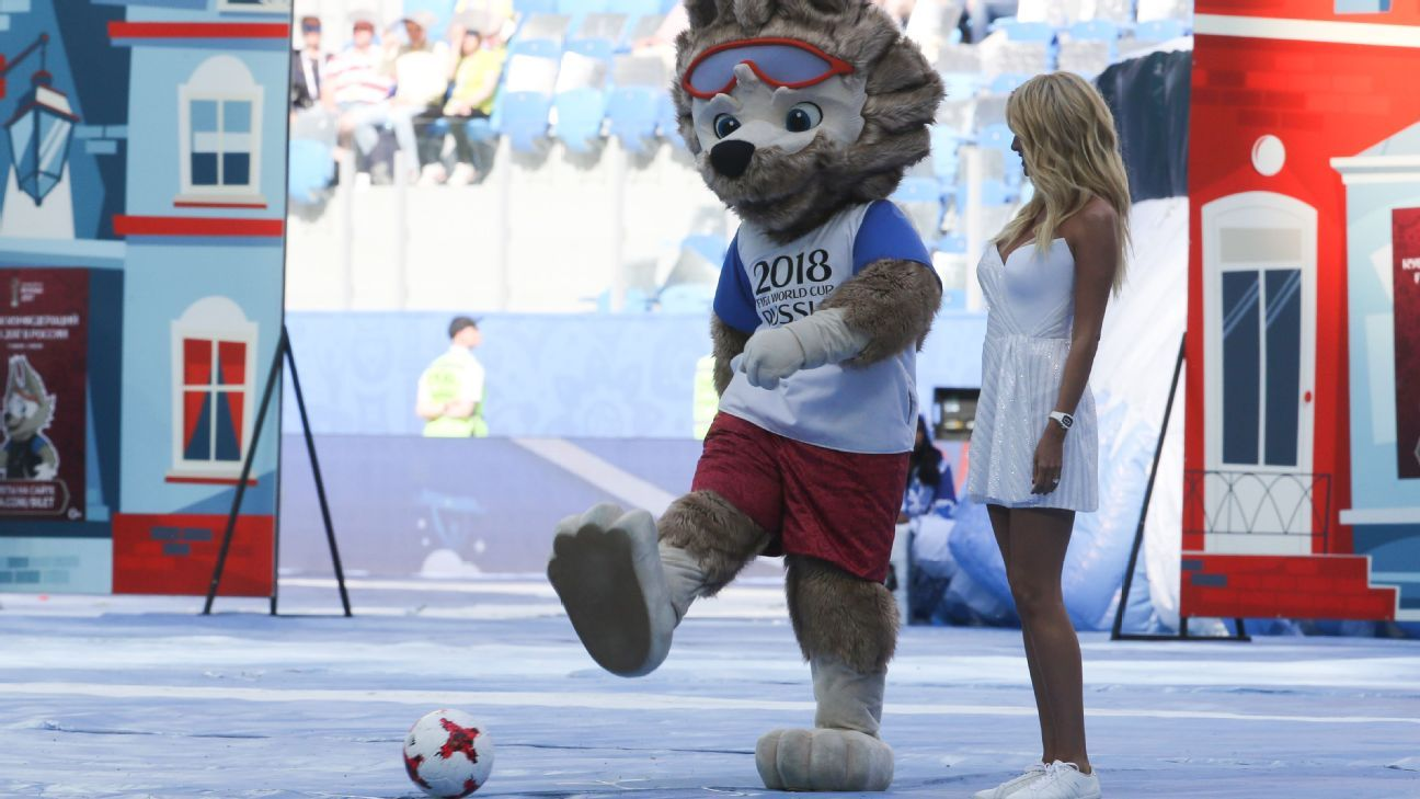 2018 World Cup mascot Zabivaka the wolf and Victoria Lopyreva, a tournament ambassador, were in attendance.