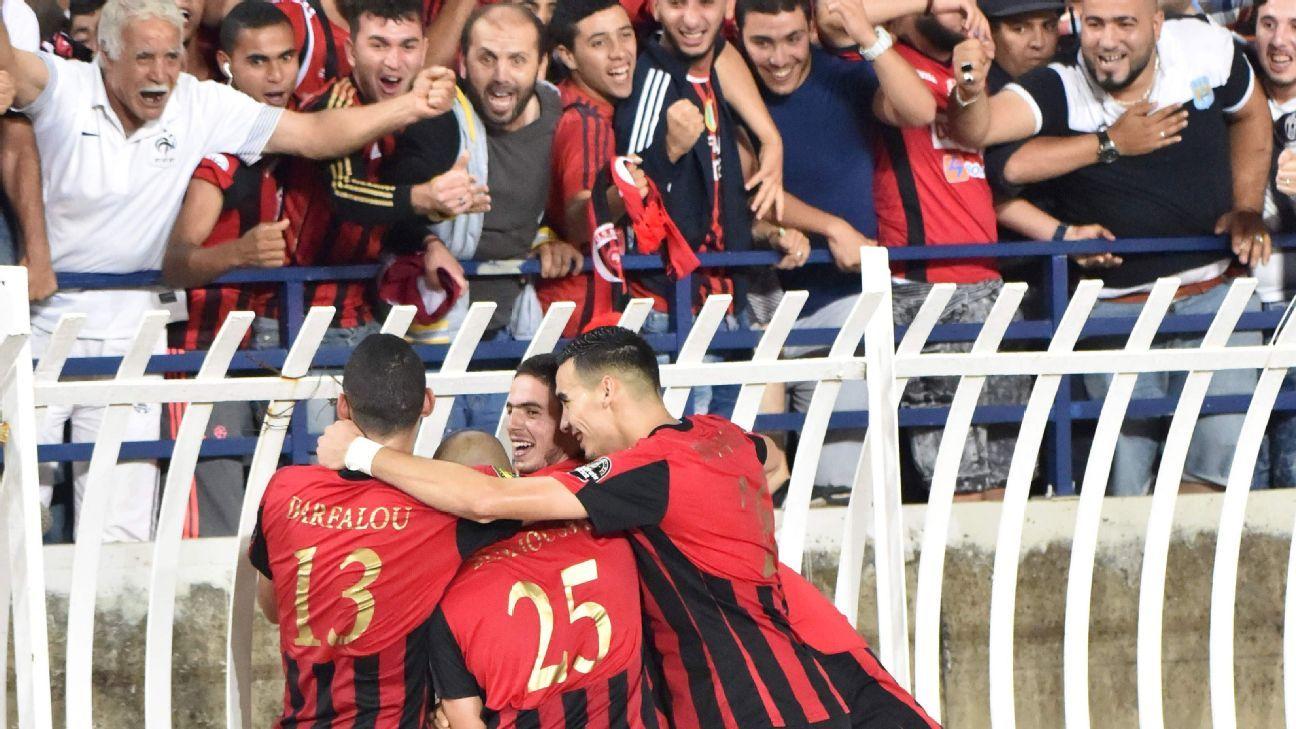 USM Alger celebrate their goal against Zamalek