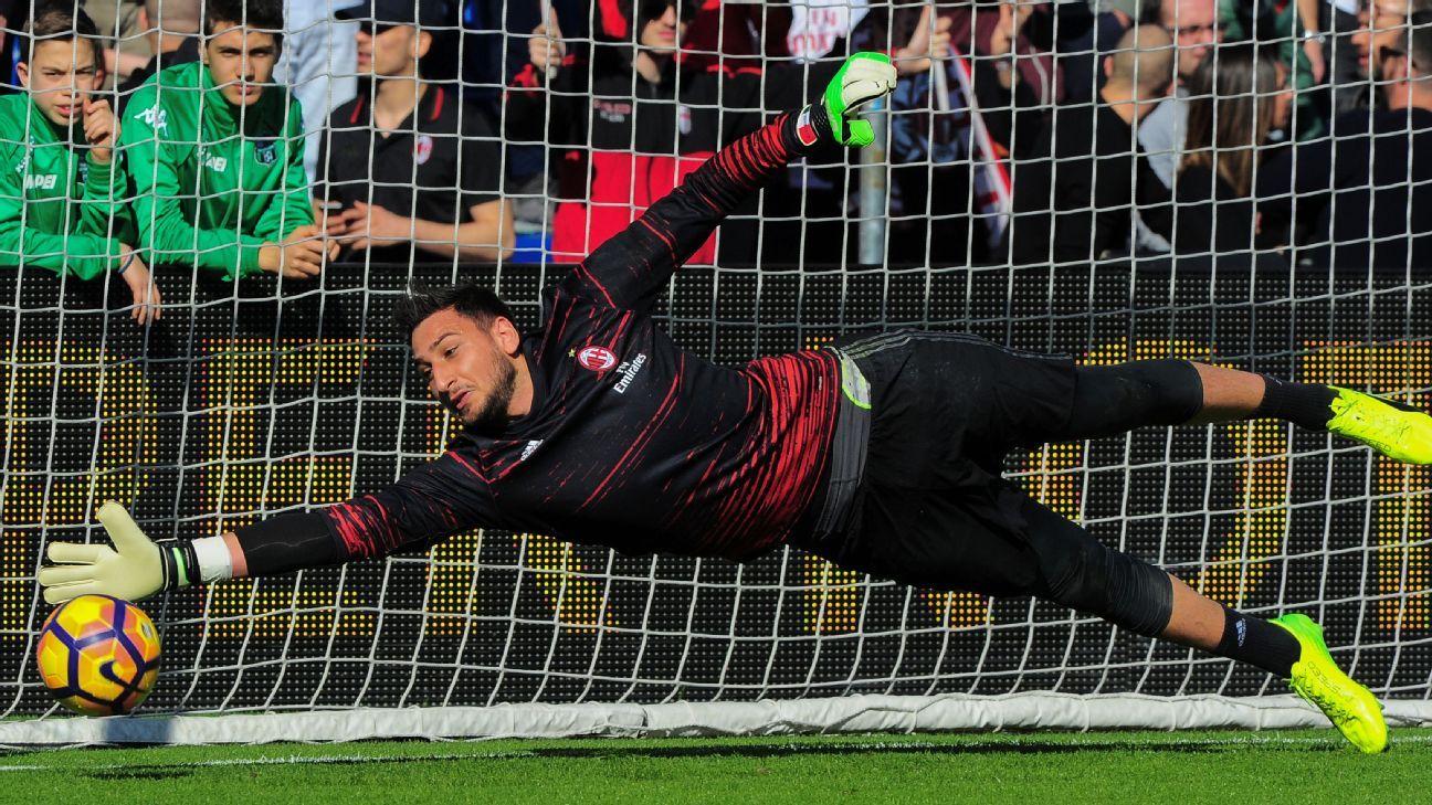 AC Milan goalkeeper Gianluigi Donnarumma.