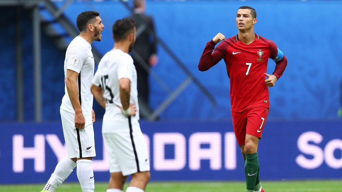 Cristiano Ronaldo celebrates after opening the scoring.