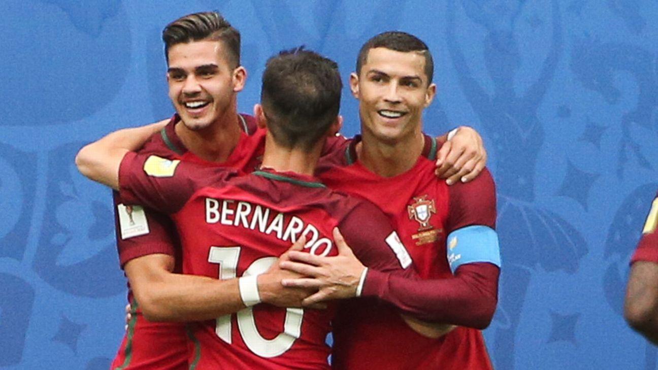 Andre Silva, Bernardo Silva and Cristiano Ronaldo