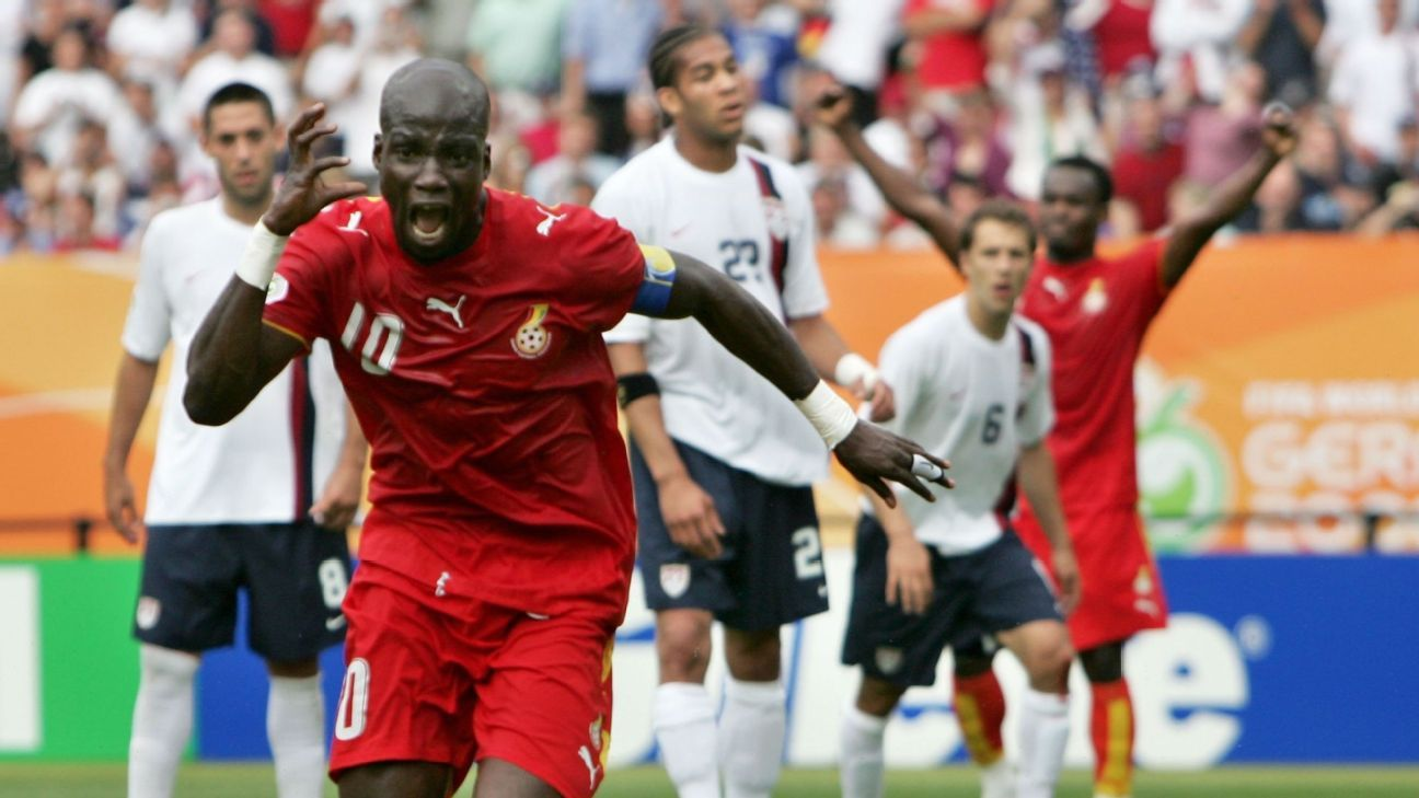 Stephen Appiah celebrates his winning goal against the USA at the 2006 World Cup