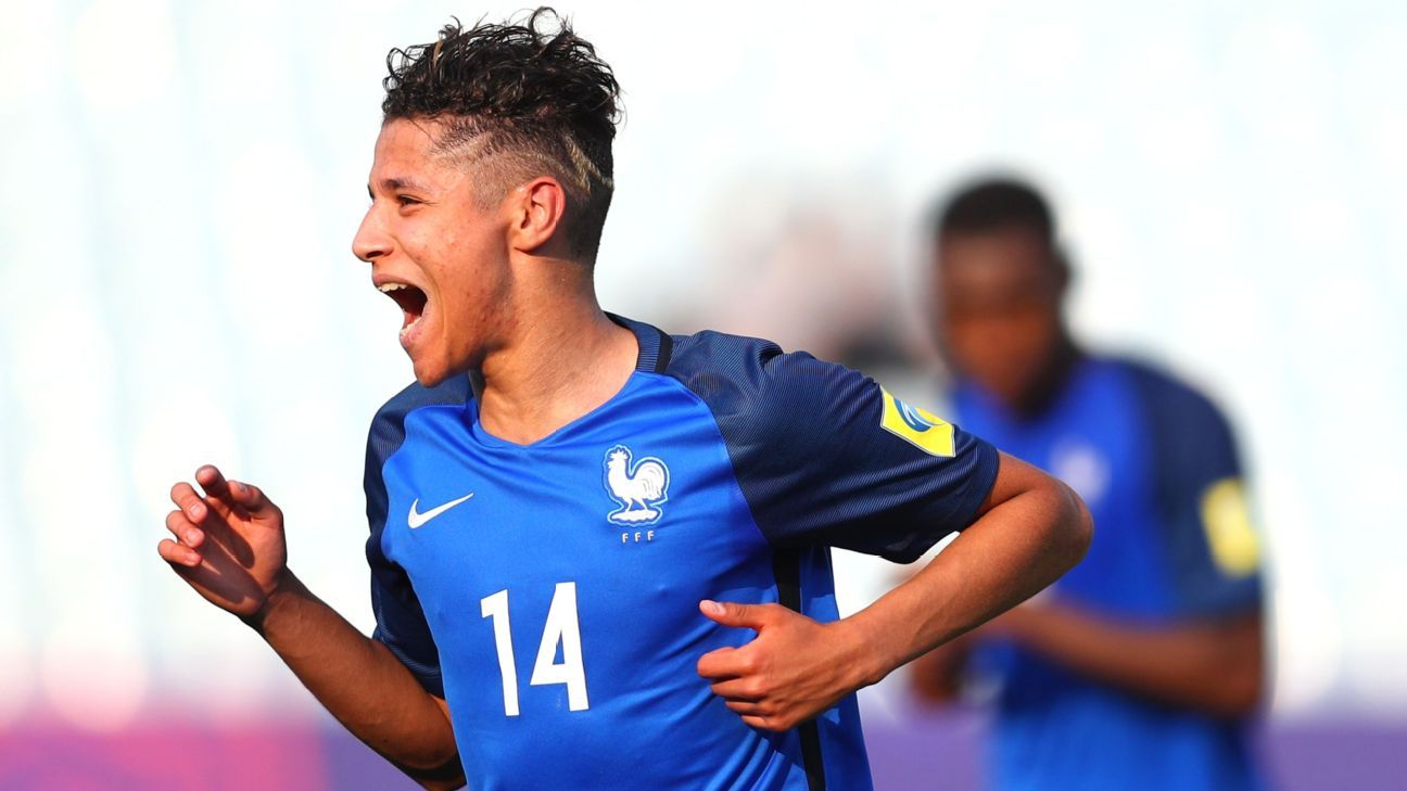Amine Harit of France celebrates after scoring for France during the Under-20 World Cup match against Honduras.