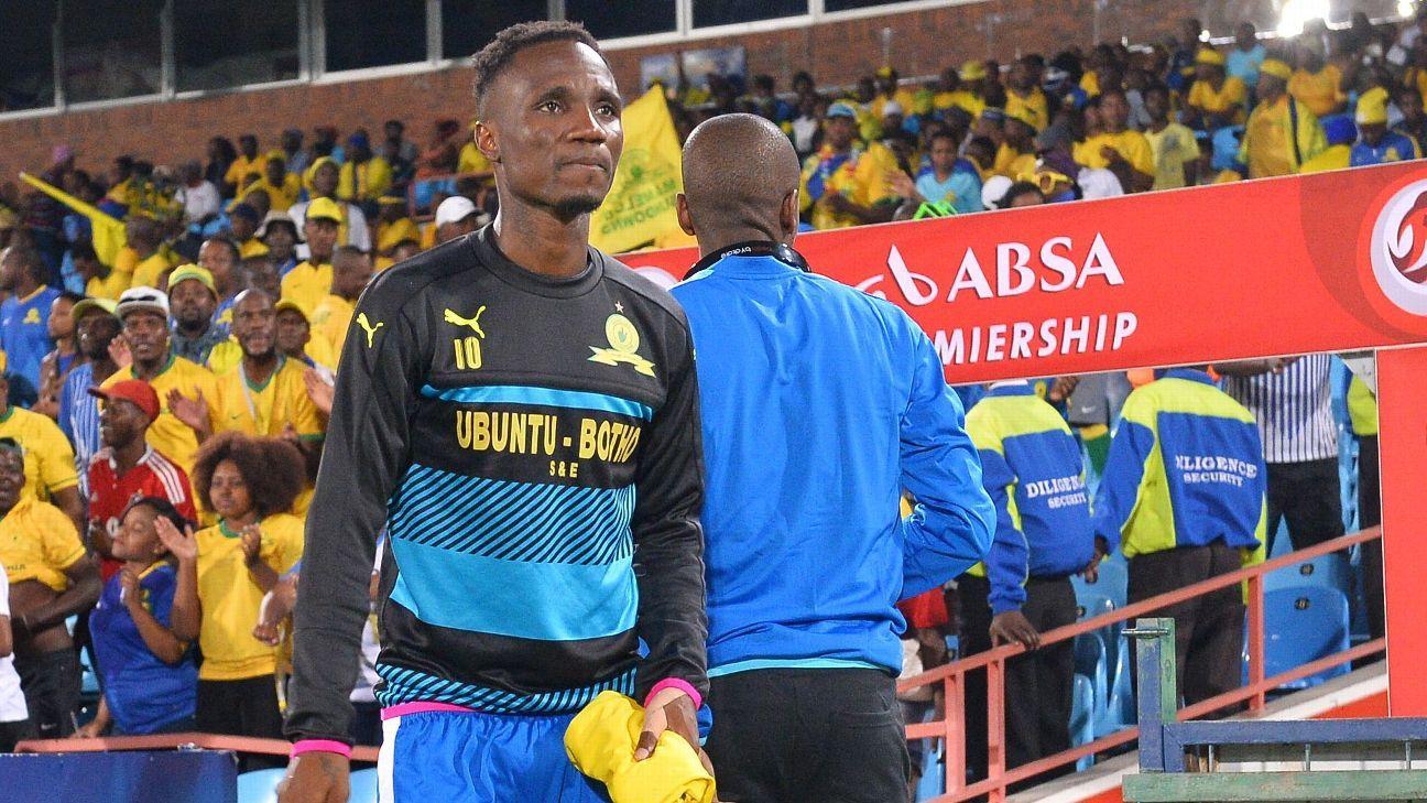 Teko Modise on the sidelines for Mamelodi Sundowns