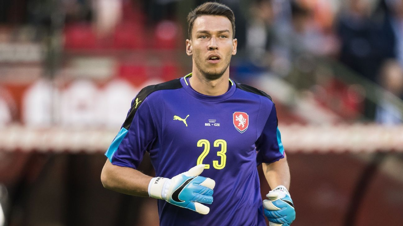 Jiri Pavlenka in action for Czech Republic against Belgium in June 2017.