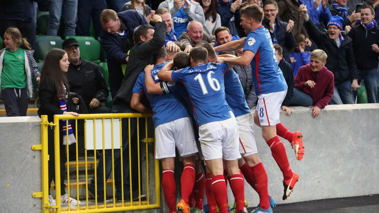 Linfield celebrate Jordan Stewart's winner on Wednesday.
