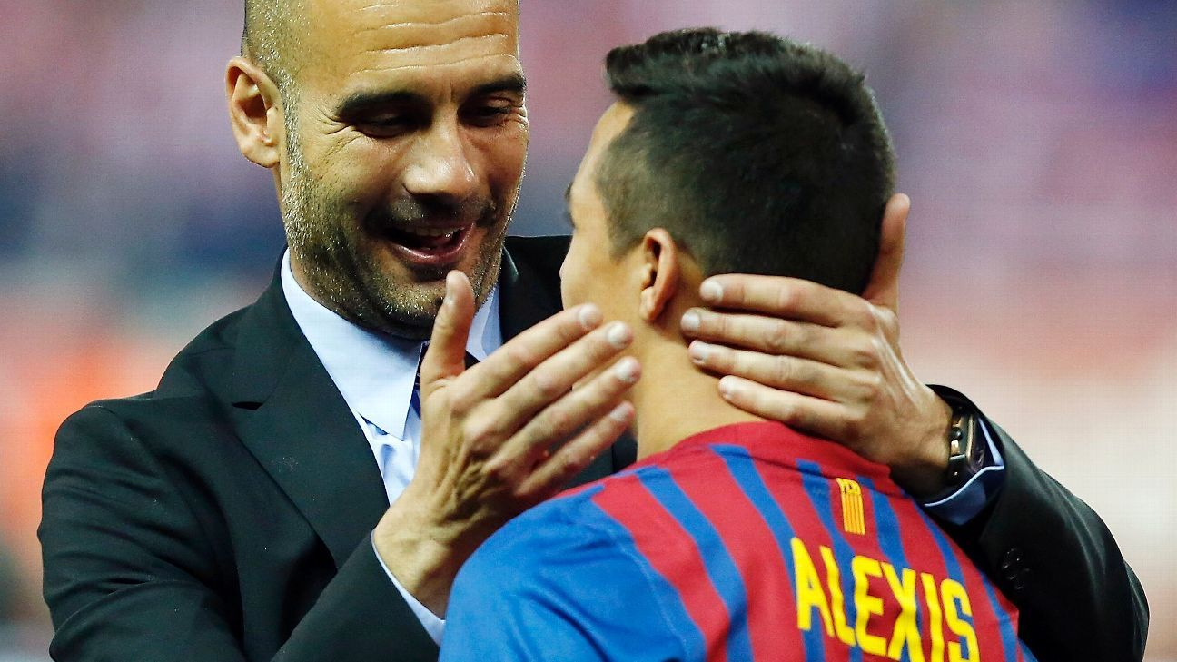 Pep Guardiola and Alexis Sanchez