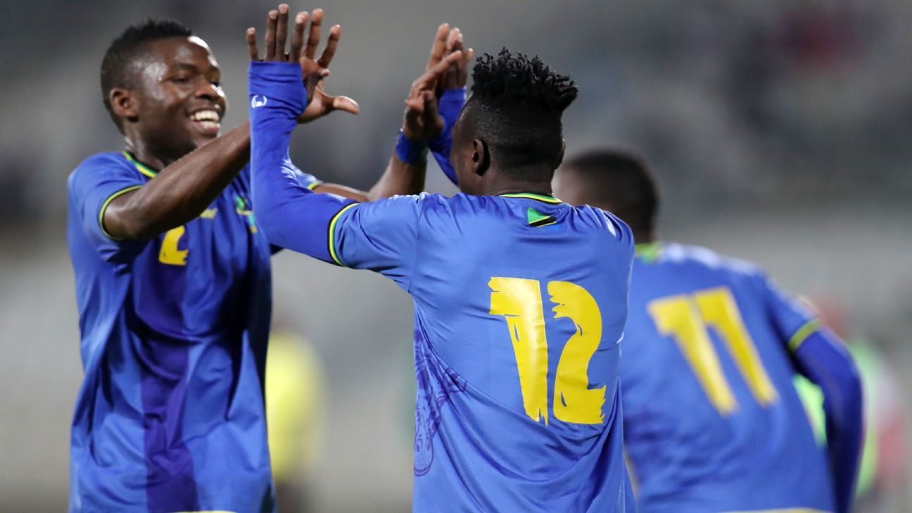 Saimon Msuva celebrates his goal for Tanzania