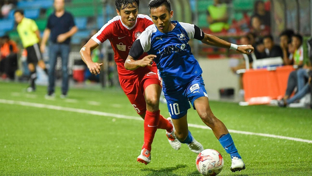 Home United winger Faris Ramli on attack