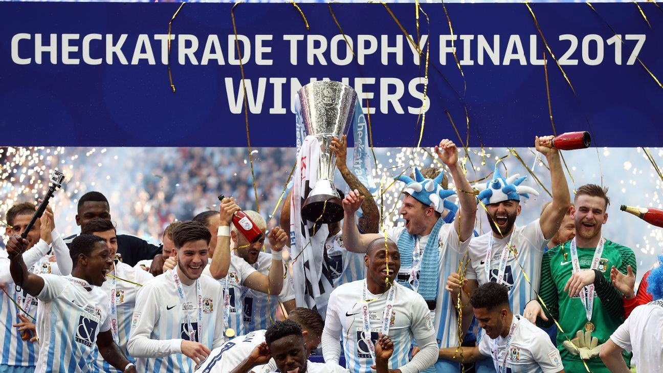 Coventry City beat Oxford United to win the Checkatrade Trophy in 2017.