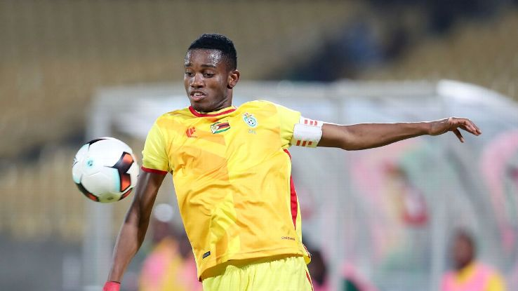 Ovidy Karuru of Zimbabwe during the 2017 Cosafa Castle Cup match between Zimbabwe and Seychelles at the Royal Bafokeng Stadium, Rustenburg South Africa on 30 June 2017.
