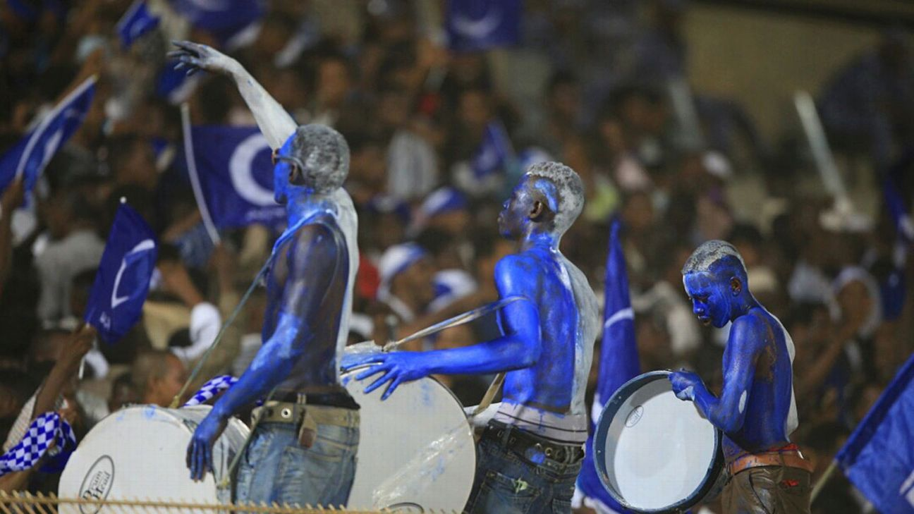 Hilal Fans during a 2017 CAF Champions League football match.