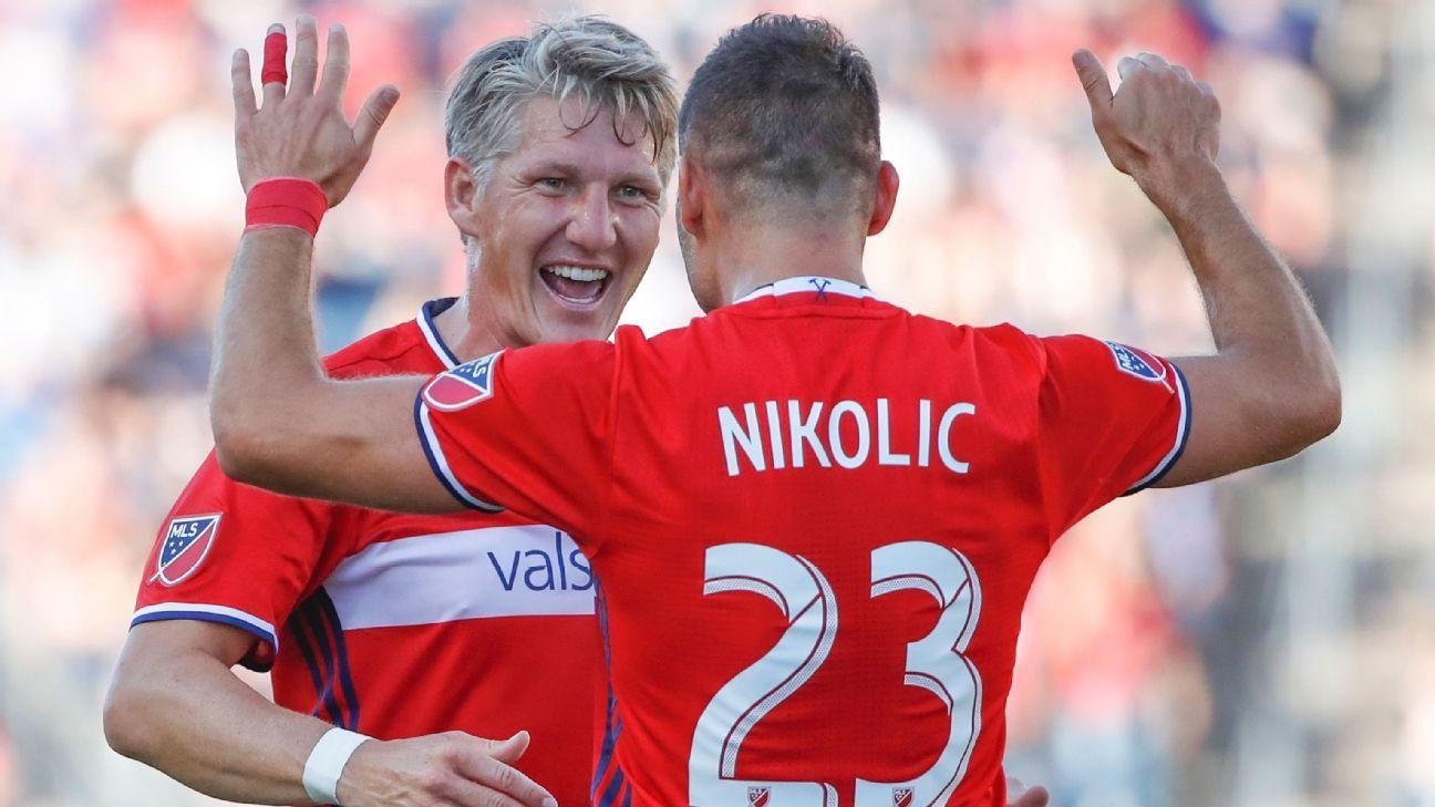 Bastian Schweinsteiger and Nemanja Nikolic