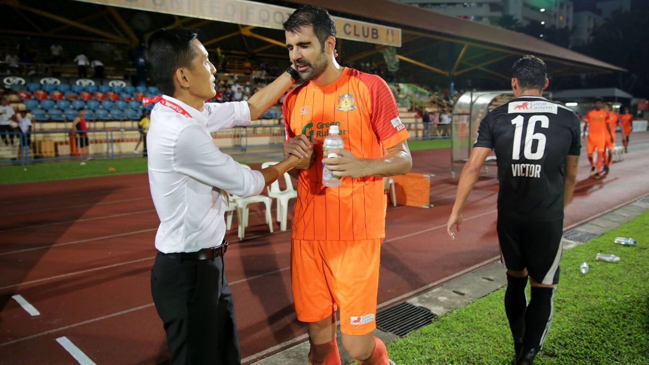 Hougang United striker Pablo Rodriguez & Philippe Aw