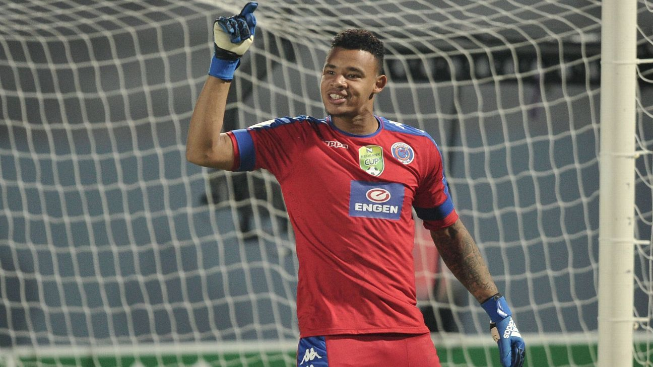 Ronwen Williams of Supersport United celebrates after saving a penalty during the 2017 Nedbank Cup semifinal against Chippa United.