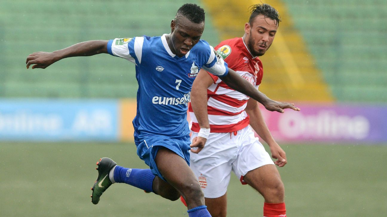 Ofoke Benard of Rivers United during the 2017 CAF Confederations Cup football match between Rivers United and Club Africain