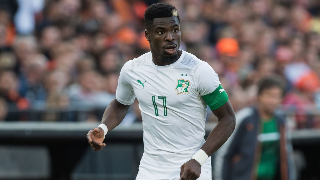 Serge Aurier in action for Ivory Coast against Netherlands.