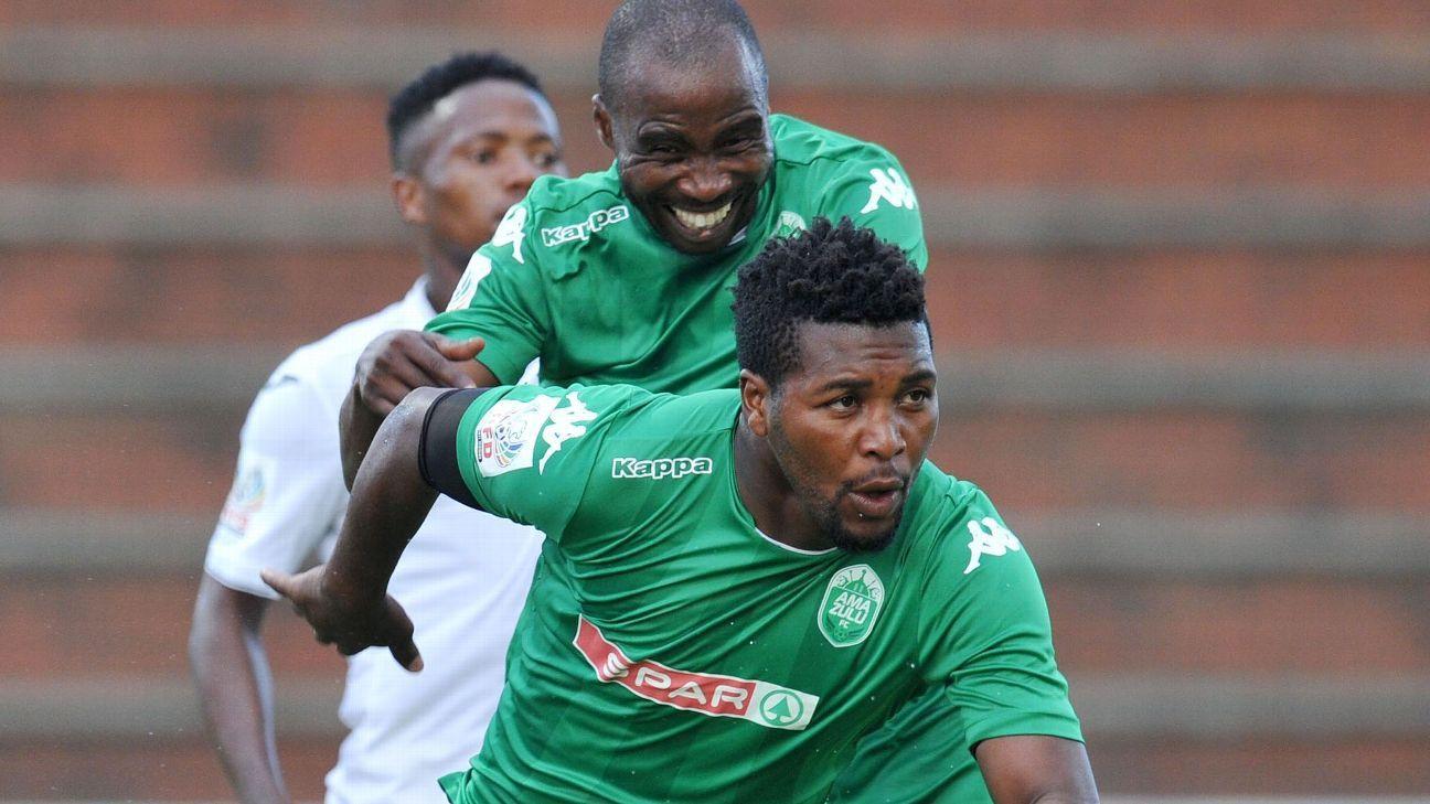 Mabhuti Khenyeza of AmaZulu celebrates a goal with Siyabonga Nomvethe