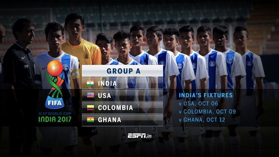India will face USA in their U-17 WC opener on October 6 in Delhi.