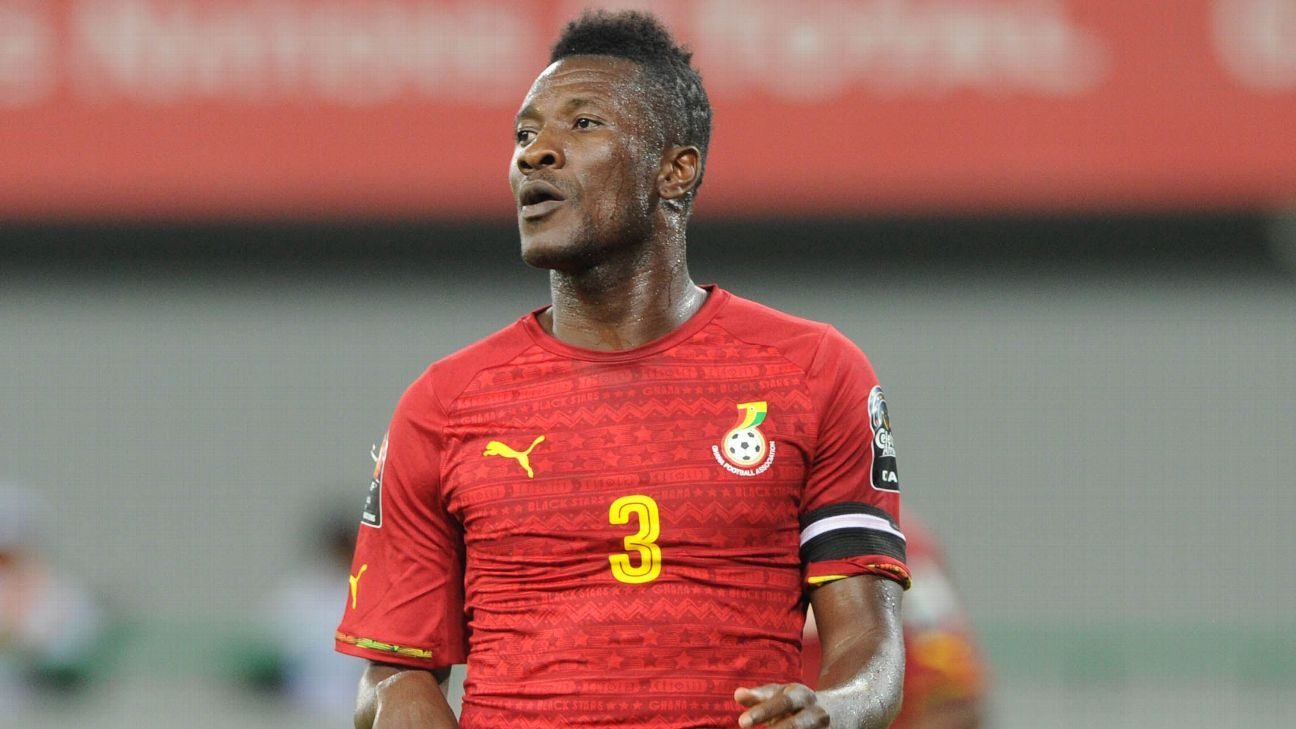 Asamoah Gyan in action for Ghana