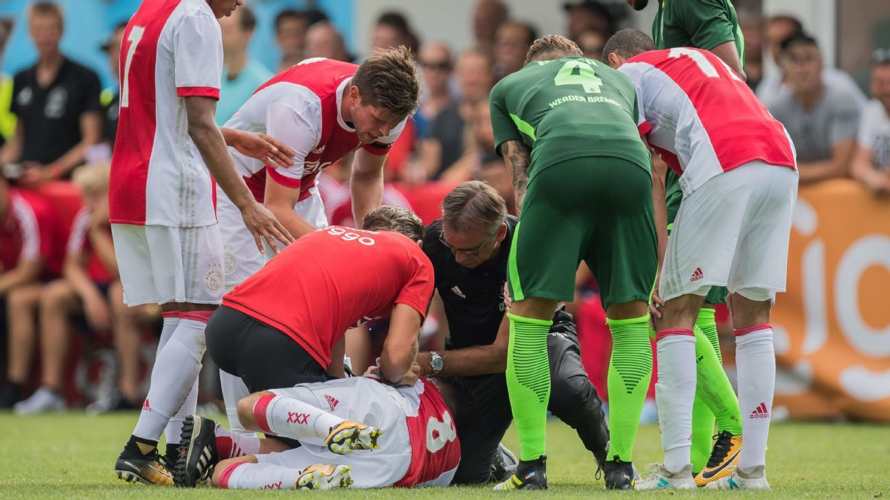 Ajax Nourin down on field vs Bremen 170708