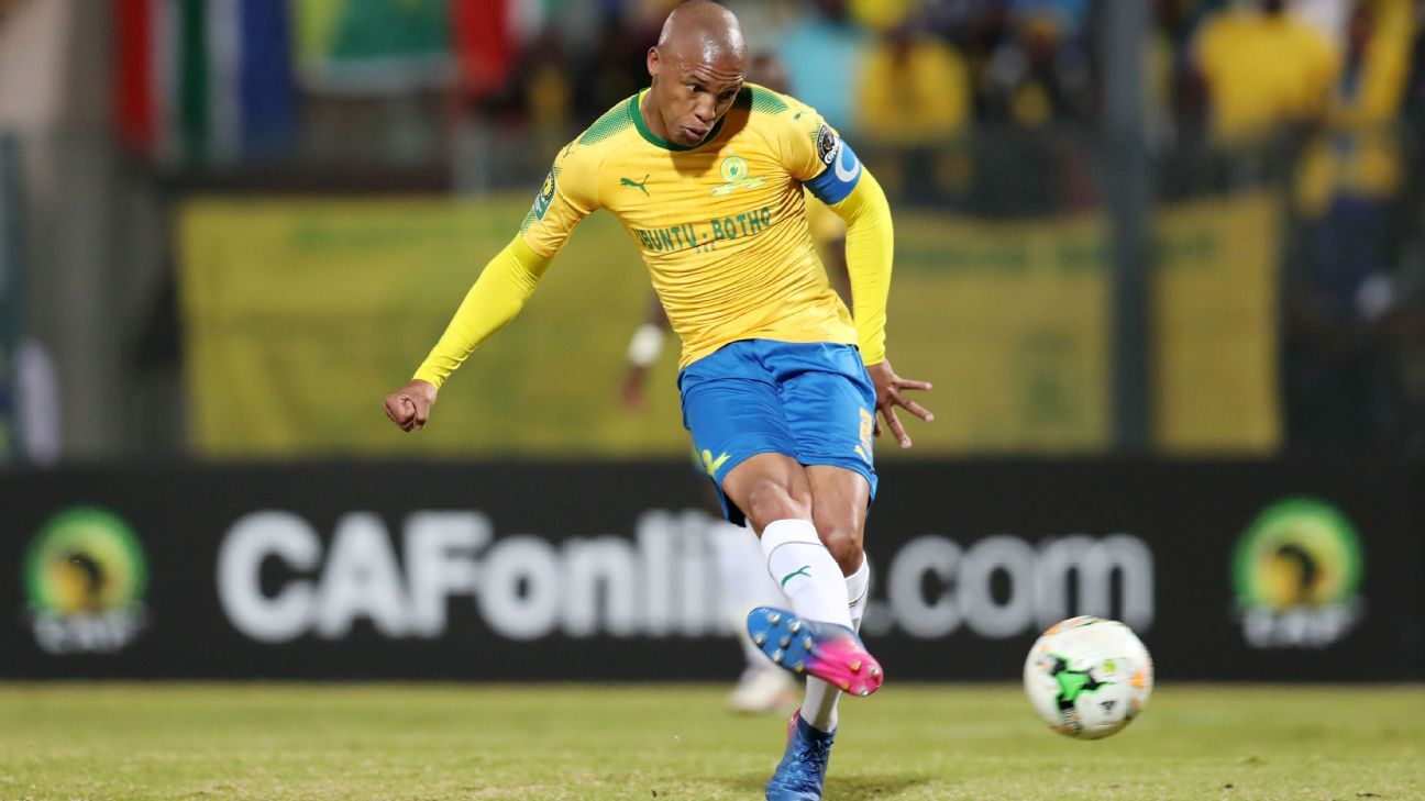 Mamelodi Sundowns' Thabo Nthethe opens the scoring against AS Vita Club.