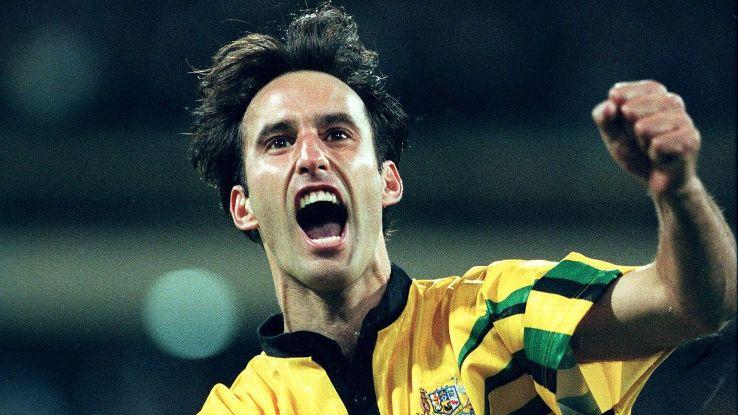 Aurelio Vidmar of Australia puts Australia 2-0 v Iran 1997
