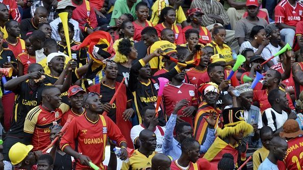 Supporters of Uganda are seen during the 2018 World Cup qualifying Group E football match between Uganda and Congo at the Mandela National stadium, in Kampala, Uganda on November 12, 2016.