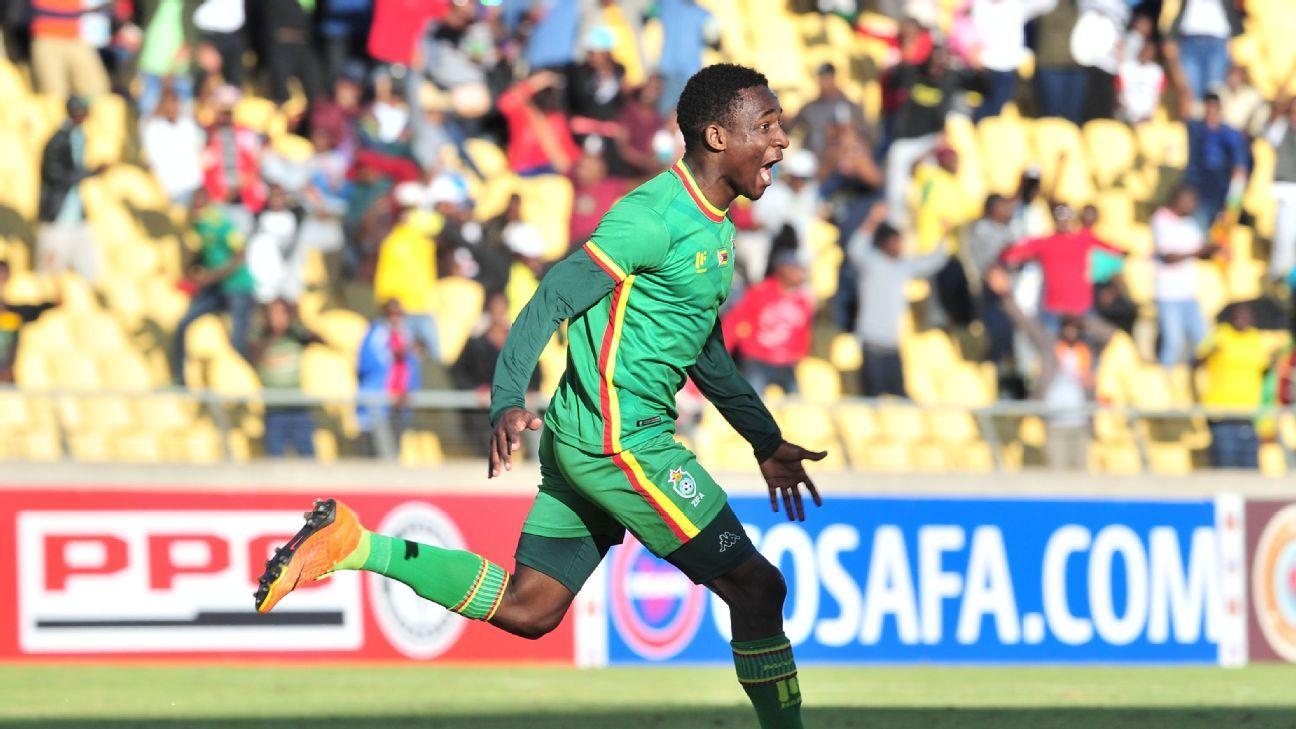 Talent Chawapiwa of Zimbabwe celebrates a goal during 2017 Cosafa Castle Cup match between Zambia and Zimbabwe at Royal Bafokeng Stadium in Rustenburg on 09 July 2017.