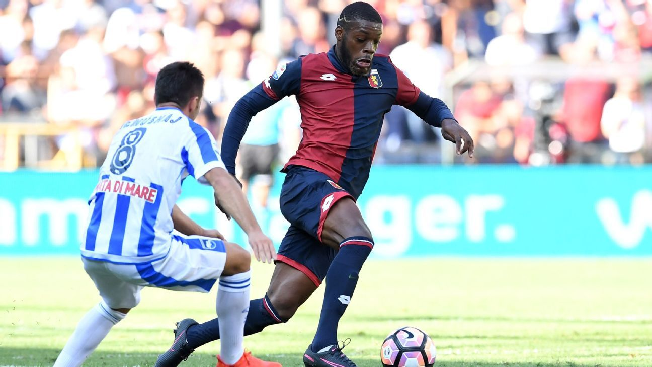 Olivier Ntcham in action for Genoa during a loan spell away from Manchester City.