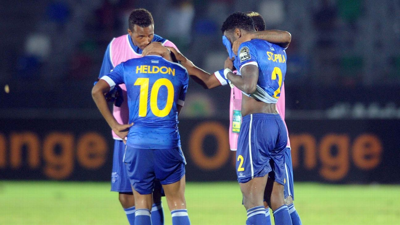 Cape Verde players dejected after a 2015 Nations Cup match between Cape Verde and Zambia