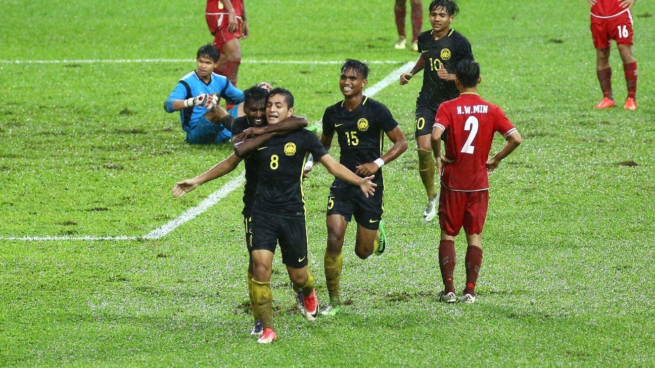 Danial Ashraf celebrates Malaysia U23 goal v Myanmar