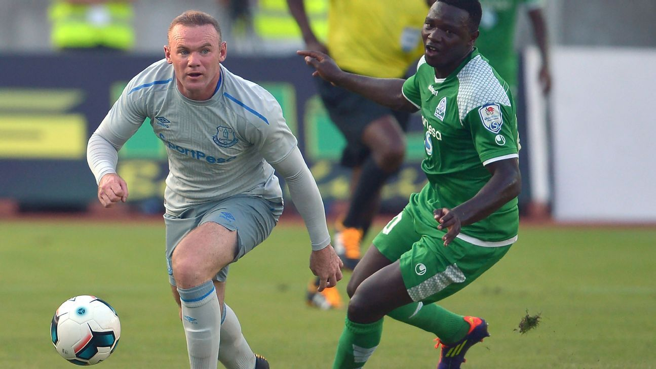 Wayne Rooney vies for the ball with Gor Mahia's Ernest Wendo on July 13, 2017