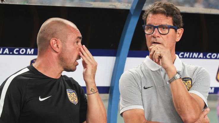 Fabio Capello watches Jiangsu Suning in 2017.
