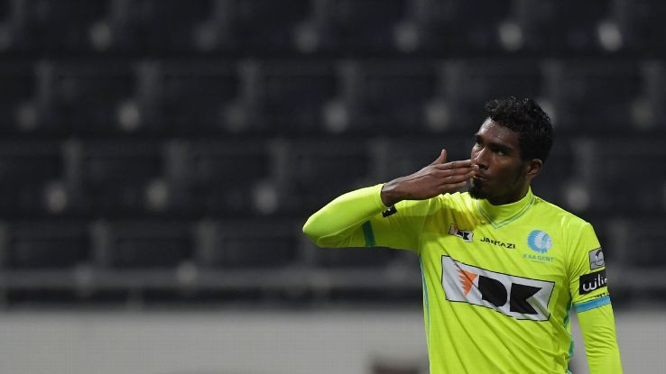 Renato Neto in action for Gent during the Belgian Pro League game against Eupen.