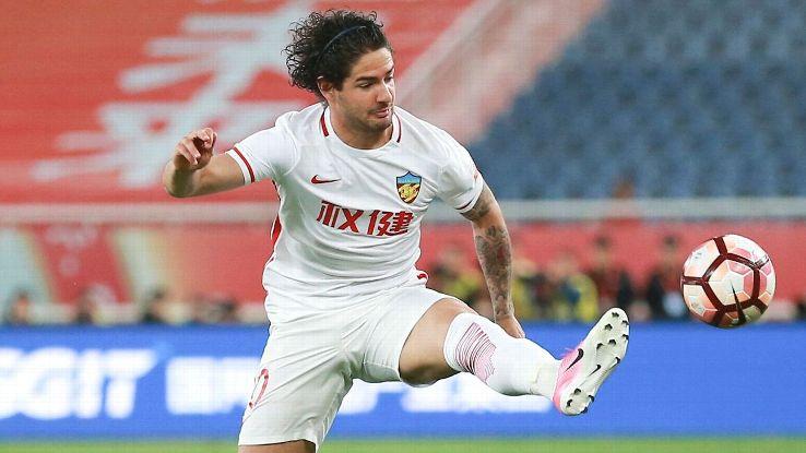 Alexadre Pato controls the ball for Tianjin Quanjian.