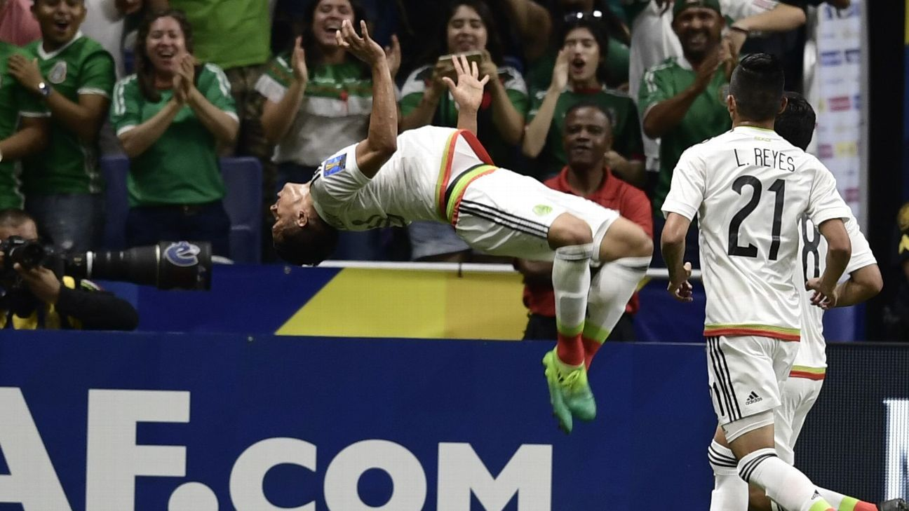 Angel Sepulveda celebrates after opening the scoring for Mexico in its match against Curacao.